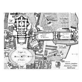 Mapa del vintage del Vatican (1914) Tarjetas Postales
