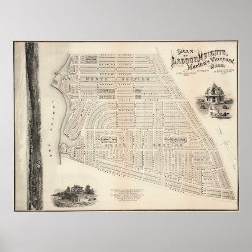 Mapa del vintage del viñedo de Marthas (1873) Póster