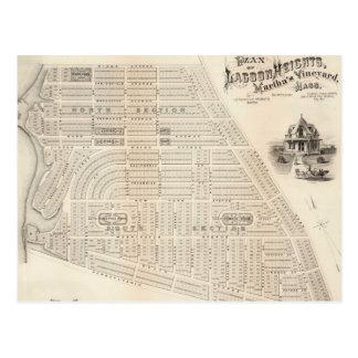 Mapa del vintage del viñedo de Marthas (1873) Postal