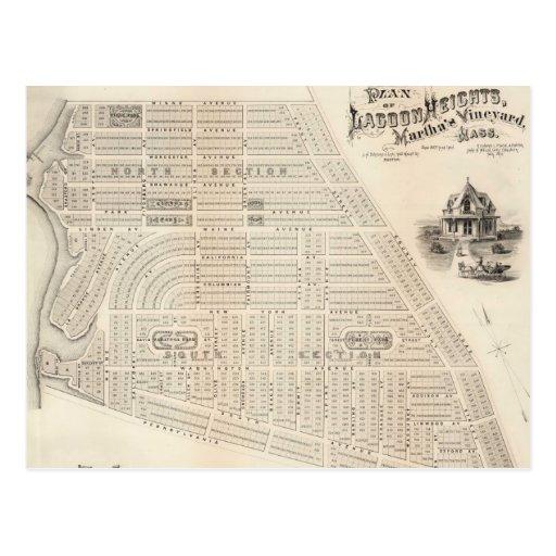 Mapa del vintage del viñedo de Marthas (1873) Postales
