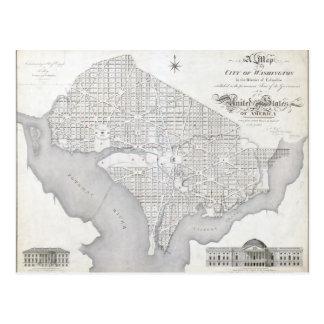 Mapa del vintage del Washington DC Tarjeta Postal