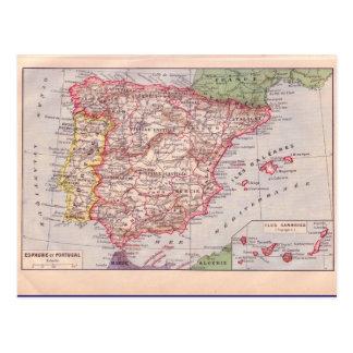 Mapa del vintage, España, circa 1920 Postal
