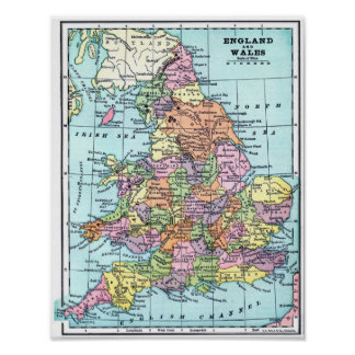 Mapa del vintage - Inglaterra y País de Gales Póster