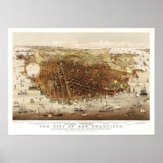 Mapa del vintage - San Francisco, California 1878 Posters