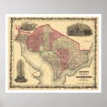 Mapa del Washington DC y de Georgetown 1862 Impresiones