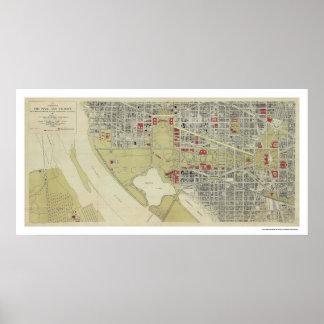 Mapa del Washington DC y de la alameda 1917 Poster