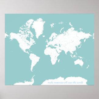 Mapa del World Travel - color de fondo adaptable Póster