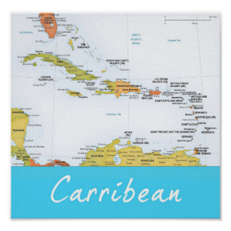 Mapa detallado del Caribe Impresiones