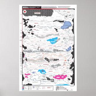 Mapa detallado del infierno póster