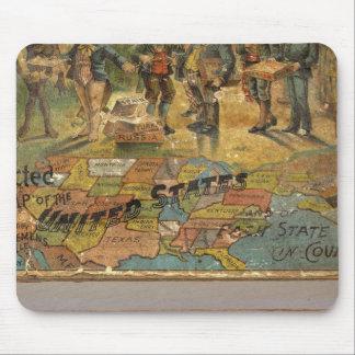 Mapa disecado caja, Estados Unidos Alfombrillas De Raton