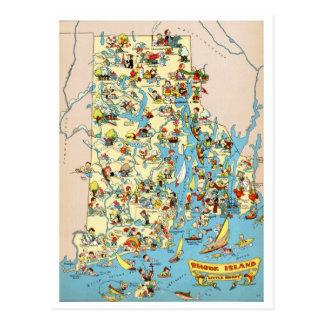 Mapa divertido de las plantaciones de Rhode Island Postales