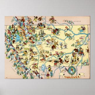 Mapa divertido de Montana Posters