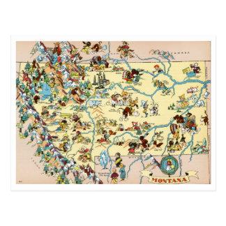 Mapa divertido de Montana Tarjetas Postales