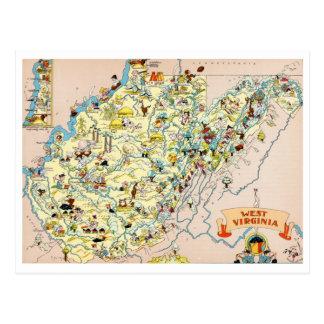 Mapa divertido de Virginia Occidental Tarjeta Postal