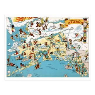 Mapa divertido del vintage de Alaska Postal