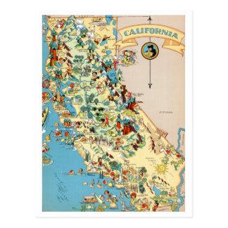 Mapa divertido del vintage de California Postal