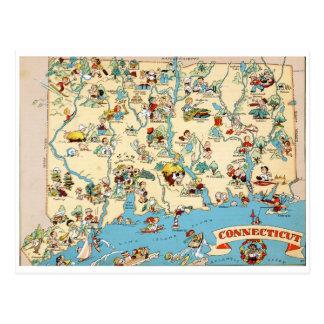 Mapa divertido del vintage de Connecticut Tarjeta Postal