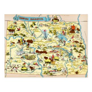 Mapa divertido del vintage de Dakota del Norte Postal