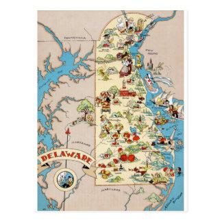 Mapa divertido del vintage de Delaware Tarjetas Postales