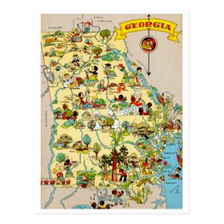 Mapa divertido del vintage de Georgia Tarjeta Postal