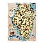 Mapa divertido del vintage de Illinois Tarjeta Postal
