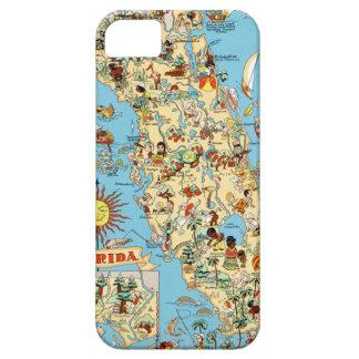 Mapa divertido del vintage de la Florida iPhone 5 Carcasas