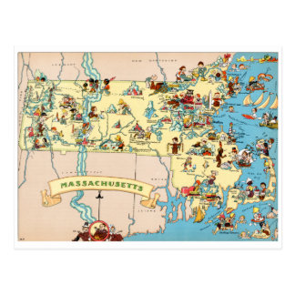 Mapa divertido del vintage de Massachusetts Tarjeta Postal