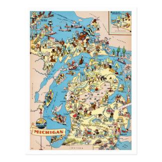 Mapa divertido del vintage de Michigan Tarjetas Postales
