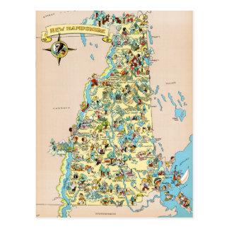 Mapa divertido del vintage de New Hampshire Tarjeta Postal