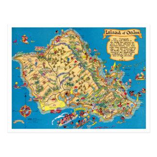 Mapa divertido del vintage de Oahu Postales