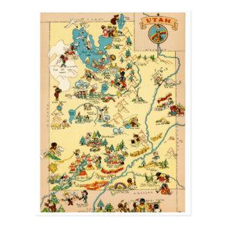 Mapa divertido del vintage de Utah Postal