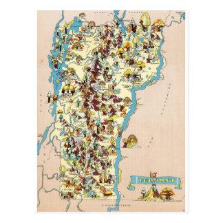 Mapa divertido del vintage de Vermont Postales