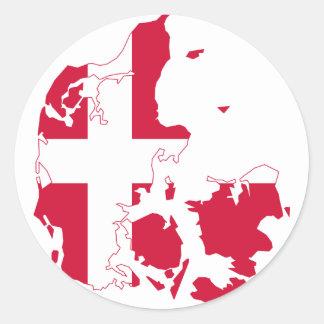 Mapa DK de la bandera de Dinamarca Pegatina Redonda