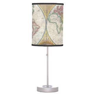 Mapa doble del hemisferio 1794 lámpara de escritorio