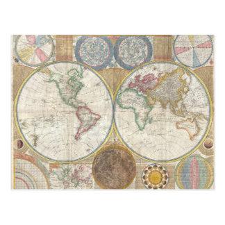 Mapa doble del hemisferio 1794 tarjetas postales