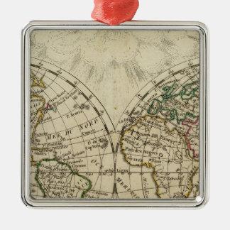 Mapa doble del hemisferio adorno navideño cuadrado de metal