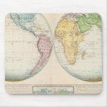 Mapa doble del hemisferio del clima mousepad