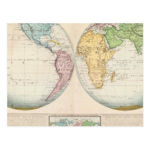 Mapa doble del hemisferio del clima postales