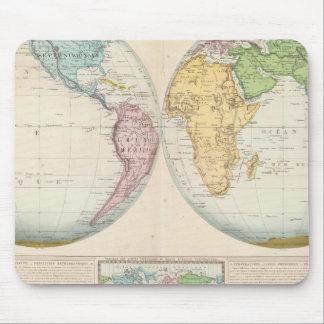Mapa doble del hemisferio del clima tapetes de ratón