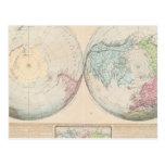 Mapa doble del hemisferio del mundo postales