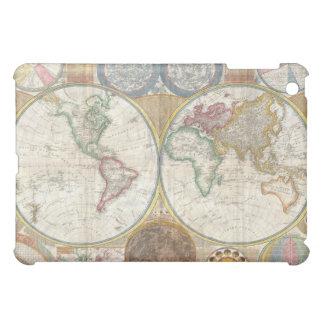 Mapa doble del hemisferio del vintage del mundo