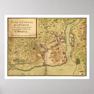 Mapa dominicano 1805 de Santo Domingo Póster
