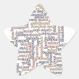 Mapa dórico de la palabra pegatina en forma de estrella