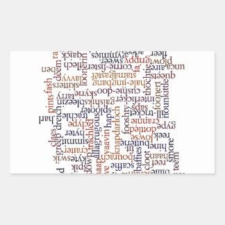 Mapa dórico de la palabra pegatina rectangular