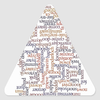 Mapa dórico de la palabra pegatina triangular