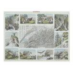 Mapa e ilustraciones de las montañas suizas postal