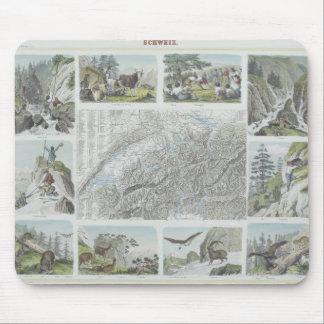 Mapa e ilustraciones de las montañas suizas tapetes de ratones