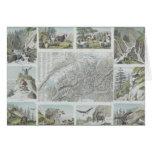 Mapa e ilustraciones de las montañas suizas tarjeton