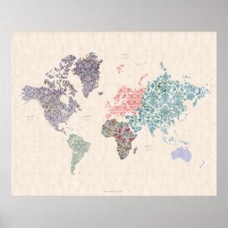 Mapa elegante lamentable del World Travel Póster