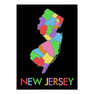Mapa en colores pastel del arco iris de New Jersey Póster